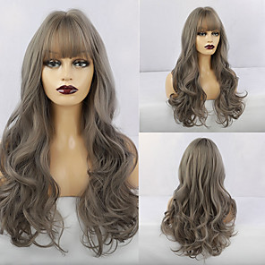 cheap Synthetic Trendy Wigs-Synthetic Wig Natural Wave Neat Bang Wig Long Grey Synthetic Hair 26 inch Women's Fashionable Design Life Women Gray