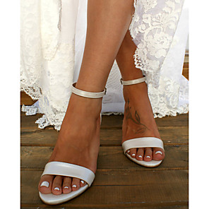 cheap Wedding Shoes-Women's Wedding Shoes Pumps Open Toe Basic Boho Wedding Party & Evening Solid Colored PU Summer White / Ivory