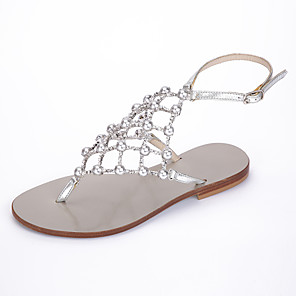 cheap Women's Sandals-Women's Sandals Summer Flat Heel Open Toe Basic Roman Shoes Daily Pearl Solid Colored Faux Leather Walking Shoes Silver