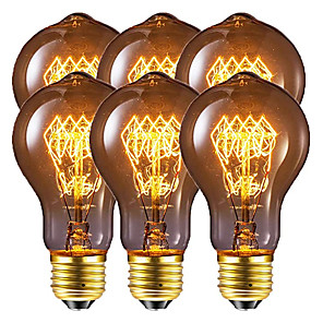 cheap LED String Lights-6pcs / 4pcs 40 W E26 / E27 A60(A19) Warm White 2200-2800 k Retro / Dimmable / Decorative Incandescent Vintage Edison Light Bulb 220-240 V