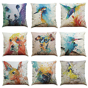cheap Throw Pillow Covers-1 Set of 9 Animal Print Series  Decorative Linen Throw Pillow Cover 18 x 18 inches 45 x 45 cm