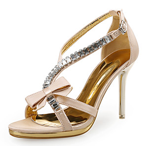 cheap Women's Sandals-Women's Sandals Spring Fall Pumps Open Toe Party & Evening Office & Career Satin Almond / Black