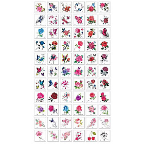 cheap Tattoo Stickers-66 Sheets Temporary Tattoos Flower Temporary Tattoos Stickers Mixed Style Body Art Temporary Tattoos Paper, Flowers, Roses, Butterflies and Multi-Colored Waterproof Tattoo for Women