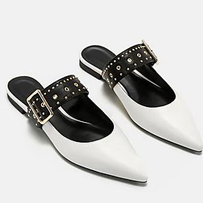 cheap Women's Sandals-Women's Clogs & Mules Summer Flat Heel Pointed Toe Daily PU White / Black / Blue