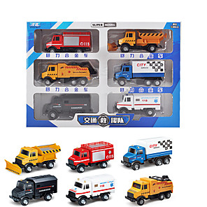 cheap Toy Trucks & Construction Vehicles-Vehicle Playset Construction Truck Toys Engineering Vehicle Military Vehicle Police car Ambulance Vehicle Sounds Lights Drop-resistant Alloy Mini Car Vehicles Toys for Party Favor or Kids Birthday