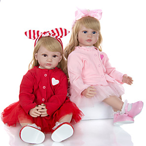 cheap Reborn Doll-KEIUMI 24 inch Reborn Doll Baby & Toddler Toy Reborn Toddler Doll Baby Girl Gift Cute Lovely Parent-Child Interaction Tipped and Sealed Nails Half Silicone and Cloth Body 2pcs with Clothes and