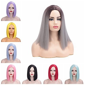 cheap Synthetic Trendy Wigs-Synthetic Wig kinky Straight Bob Middle Part Wig Short Pink Blue Natural Black Purple Red Synthetic Hair 12 inch Women's Adorable Comfortable Comfy Black
