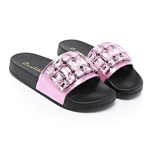 cheap Women's Sandals-Women's Slippers & Flip-Flops Summer Flat Heel Open Toe Classic Casual Basic Daily Beach Rhinestone Solid Colored PU Walking Shoes Black / Pink / Silver