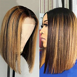 cheap CCTV Cameras-Remy Human Hair Lace Front Wig Bob style Brazilian Hair Straight Multi-color Wig 150% Density New Arrival For Black Women Women's Short Human Hair Lace Wig