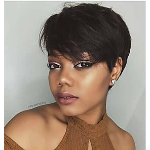 cheap Synthetic Trendy Wigs-Remy Human Hair Wig Short Natural Wave Pixie Cut Natural Women Sexy Lady New Capless Peruvian Hair Women's Natural Black #1B 6 inch