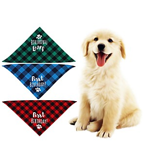 cheap Dog Clothes-Dog Cat Bandanas & Hats Dog Bandana Dog Bibs Scarf Plaid / Check Letter & Number Casual / Sporty Cute Christmas Birthday Dog Clothes Adjustable Costume Fabric L