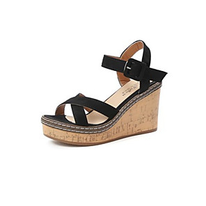 cheap Women's Sandals-Women's Sandals Summer Wedge Heel Open Toe Daily Synthetics Black / Green / Beige