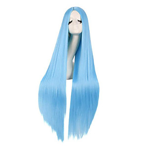 cheap Synthetic Trendy Wigs-Synthetic Wig kinky Straight Natural Straight Middle Part Wig Very Long Light Brown Dark Brown Lake Blue Black Purple Synthetic Hair 40 inch Women's Cosplay New Arrival Comfortable Black