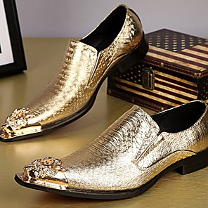 cheap Men's Slip-ons & Loafers-Men's Dress Shoes Summer Daily Party & Evening Loafers & Slip-Ons Cowhide Handmade Gold / Silver