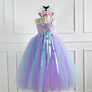 cheap Movie & TV Theme Costumes-Kids Girls' Flower Cute The Little Mermaid Patchwork Jacquard Christmas Mesh Lace up Patchwork Sleeveless Maxi Dress Purple