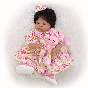 cheap Building Blocks-KEIUMI 22 inch Black Dolls Reborn Doll Baby & Toddler Toy Reborn Toddler Doll Baby Girl Gift Cute Washable Lovely Parent-Child Interaction Full Body Silicone 23D45-C184-H06-S12-S24-T21 with Clothes