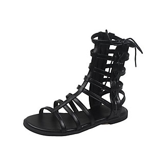 cheap Synthetic Trendy Wigs-Women's Sandals Roman Shoes / Gladiator Sandals Summer Flat Heel Open Toe Daily PU Black