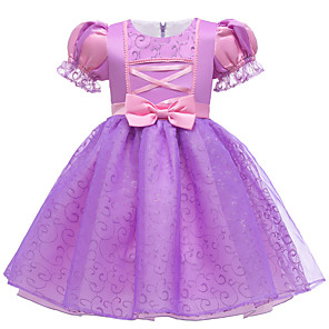 cheap Movie & TV Theme Costumes-Rapunzel Dress Flower Girl Dress Girls' Movie Cosplay A-Line Slip Purple Dress Halloween Children's Day Masquerade Polyester