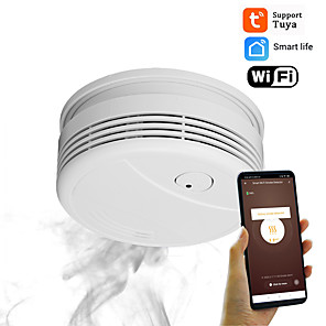 cheap Security Sensors-Wifi Smoke Detector Home Safety Fire Alarm System Tuya Intelligent Smoke Alarm 95db Push Message Application No Hub Sound Alarm
