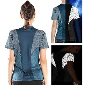 cheap Outdoor IP Network Cameras-Women's Running Shirt Patchwork Reflective Strip Blue Gray Nylon Mesh Spandex Yoga Fitness Gym Workout Tee T-shirt Short Sleeve Sport Activewear 4 Way Stretch Breathable Comfort Quick Dry Moisture