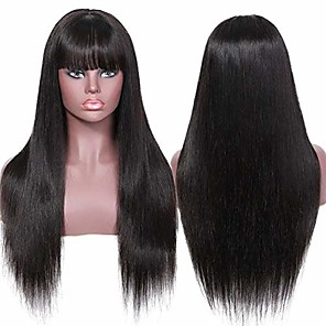 cheap Human Hair Capless Wigs-Remy Human Hair Wig Long Natural Straight With Bangs Natural Life Women New Arrival Capless Women's Natural Black 16 inch