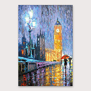 cheap Abstract Paintings-IARTS®Hand Painted The dim light of night Oil Painting   with Stretched Frame For Home Decoration