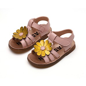 cheap Kids' Sandals-Girls' Sandals Comfort PU Little Kids(4-7ys) Black / Pink / Silver Summer