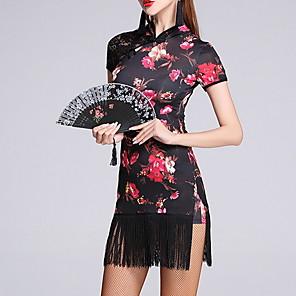 cheap Latin Dancewear-Latin Dance Dress Tassel Split Pattern / Print Women's Training Performance Short Sleeve Cotton