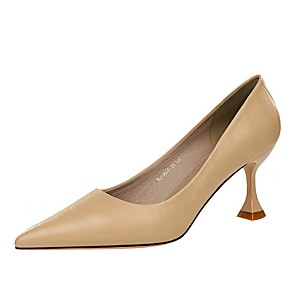 cheap Women's Heels-Women's Heels Summer Pumps Pointed Toe Daily Solid Colored PU Black / Red / Khaki