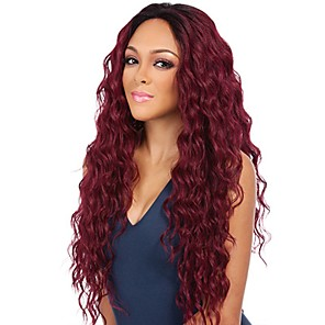 cheap Synthetic Trendy Wigs-Synthetic Wig Wavy Middle Part Wig Long Blonde Black Burgundy Synthetic Hair 24 inch Women's Fashionable Design Party Adorable Blonde Burgundy