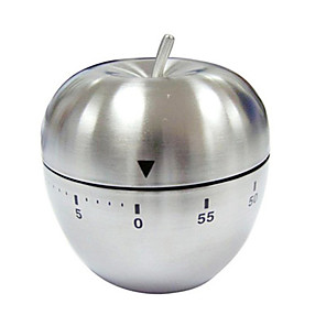 cheap Alarm Clocks-Egg/Apple Kitchen Timer Cute Manual, Stainless Steel Metal Mechanical Visual Countdown Cooking Timer With Loud Alarm for Kitchen Cooking Baking Sports Kids (apple timer)