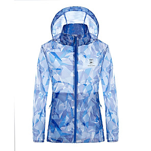 cheap Softshell, Fleece & Hiking Jackets-Shamocamel® Women's Hiking Raincoat Hiking Skin Jacket Summer Outdoor Camo Lightweight Sunscreen UV Resistant Rain Waterproof Hoodie Top Waterproof Hunting Camping / Hiking / Caving Travel Blue