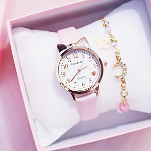 cheap Bracelet Watches-Kids Quartz Watches Quartz Modern Style Stylish Fashion Chronograph PU Leather Black / White / Red Analog - White Black Red