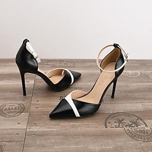 cheap Women's Heels-Women's Heels Spring Summer Stiletto Heel Pointed Toe Daily PU Nude / White / Black / 3-4