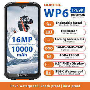 "cheap Cell Phones-OUKITEL wp6 4+128G 6.3 inch "" 4G Smartphone ( 4GB + 128GB 2 mp / 5 mp / 48+5 mp MediaTek MT6771t 10000 mAh mAh )"
