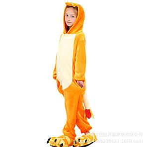 cheap Kigurumi Pajamas-Kid's Kigurumi Pajamas Cartoon Dragon Onesie Pajamas Polar Fleece Orange Cosplay For Boys and Girls Animal Sleepwear Cartoon Festival / Holiday Costumes / Leotard / Onesie / Leotard / Onesie