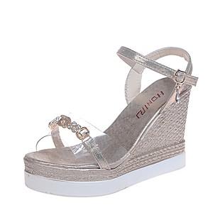 cheap Women's Sandals-Women's Sandals Summer Wedge Heel Open Toe Daily PU Gold / Silver