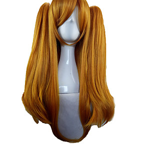 cheap Costume Wigs-Synthetic Wig Cosplay Wig Krul Tepes Seraph of the End Straight Cosplay With 2 Ponytails Wig Long Light Blonde Pink Orange Synthetic Hair 28 inch Women's Cosplay Blonde hairjoy