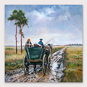cheap Abstract Paintings-IARTS®Hand Painted Rural road Oil Painting   with Stretched Frame For Home Decoration