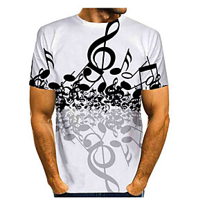 cheap Cycling Jerseys-Men's T-shirt Graphic Print Tops Basic Round Neck White / Short Sleeve