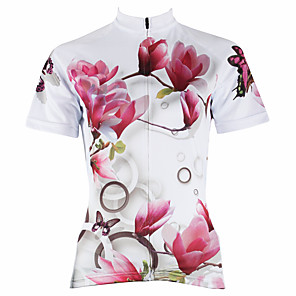 cheap Cycling Jerseys-21Grams Women's Short Sleeve Cycling Jersey Polyester White Purple Yellow Floral Botanical Plus Size Bike Jersey Top Mountain Bike MTB Road Bike Cycling Breathable Quick Dry Ultraviolet Resistant
