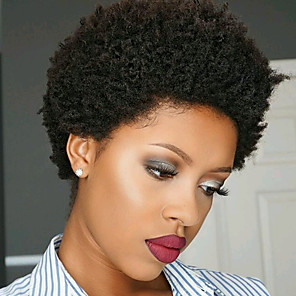 cheap Human Hair Capless Wigs-Remy Human Hair Wig Short Afro Curly Side Part Natural Designers Cool African American Wig Capless Malaysian Hair Chinese Hair Women's Natural Black #1B Natural Black 6 inch