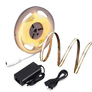 cheap Projectors-ZDM New Waterproof 16.4ft 5m COB LED Light Strip CRI 80 60W LED Rope Light Bendable Band Light Suitable for High Requirements Office and Home Business Lighting DC12V