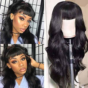 cheap Synthetic Trendy Wigs-Remy Human Hair Wig Long Body Wave With Bangs Natural Black Party Women New Arrival Brazilian Hair Women's Natural Black 16 inch / Natural Hairline / Natural Hairline