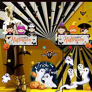 cheap Halloween Toys-Halloween Party Toys Window Sticker Wall Stickers Cartoon Paper Kid's Trick or Treat Halloween Party Favors Supplies