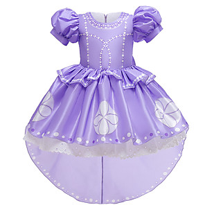 cheap Movie & TV Theme Costumes-Princess Sofia Dress Flower Girl Dress Girls' Movie Cosplay A-Line Slip Purple Dress Christmas Halloween Children's Day Polyester