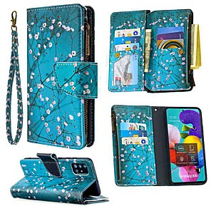 cheap Samsung Case-Case For Samsung Galaxy A51 A71 A70E A11 A21 A01 Note 10 Plus Wallet  Card Holder with Stand Full Body Cases Flower PU Leather For Galaxy M11 A31 A41 A81 A91 A30S A50S