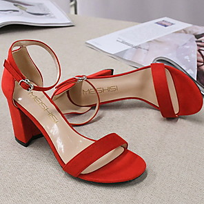 cheap Women's Sandals-Women's Sandals Summer Stiletto Heel Square Toe Daily PU Nude / Black / Red