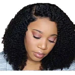 abordables Pelucas de Cabello Natural-Peluca Pelo Natural Encaje Frontal Cabello Malayo Afro Kinky Kinky Curly Negro Parte lateral Mujer Densidad 130% Clásico Mujer Moda Corta Color natural Pelucas de Cabello Natural Clytie