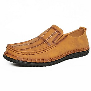 cheap Men's Slip-ons & Loafers-Men's Summer Daily Loafers & Slip-Ons PU Black / Yellow / Khaki